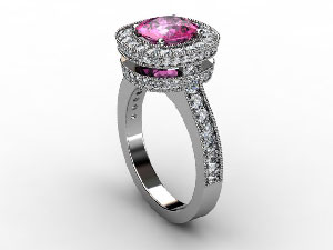 Cad rendering for Sherrie sapphire and diamond ring